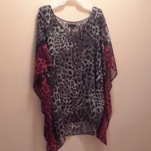 Lane Bryant 18/20 sheer leopard pancho shirt